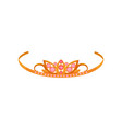 golden tiara with pink gemstones fashionable vector image