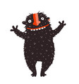 happy quirky smiling monster character cheer vector image vector image