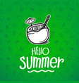 hello summer green banner with summer logo vector image vector image