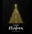 holiday new year card- golden christmas tree vector image vector image