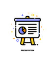 icon of presentation with business analytics vector image vector image