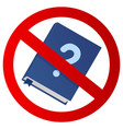 icon with crossed out book and question sign vector image