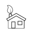 line house with ecological leaf to environment vector image vector image