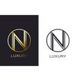 logo n monogram gold letter seal mockup elegant vector image vector image