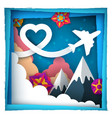 love paper cloud airplane vector image