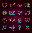 love valentine neon icons vector image vector image