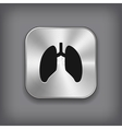 Lungs icon - metal app button vector image vector image