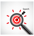 magnifying glass and target concept background vector image vector image