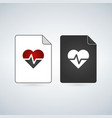 medical document file icon with heart and beat vector image