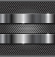 metal brushed shiny plates on perforated vector image vector image