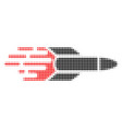 missile halftone dotted icon with fast rush effect vector image