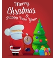 New year santa claus fir tree with decorations vector image