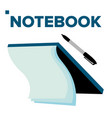 notebook and pen for business and school vector image vector image