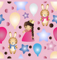pattern with cartoon cute toy baby girl and bunny vector image