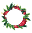 Pine wreath and red Christmas decorations vector image vector image
