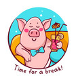 pink color character pig in blue round frame vector image vector image