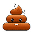 pixel poop emoji smilie detailed isolated vector image
