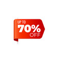 red banner left bookmark up to 70 percent off vector image vector image