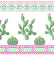 seamless cross stitches cactuses floral pattern vector image