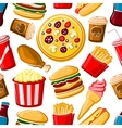 seamless pattern fast food dishes and drinks vector image vector image