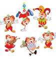 set of cartoon cute cats clowns vector image