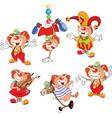 set of cartoon cute cats clowns vector image vector image