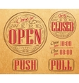 Set vintage open closed kraft vector image vector image
