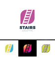 stairs logotype simple form sign with negative vector image vector image