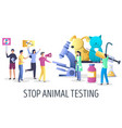 stop animal testing campaign concept vector image vector image