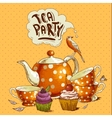 Tea party invitation card with a Cupcake and Pot vector image vector image