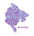 textured map montenegro hand drawn ethno vector image vector image