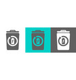 trash bin element with battery outline icon vector image vector image