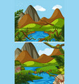 two mountain scenes with river vector image