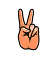 victory or peace sign in pop art retro comic style vector image