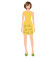 woman wearing yellow dress vector image vector image