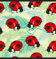 red ladybugs and lines cartoon seamless pattern vector image