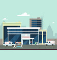 accident and emergency hospital exterior with vector image