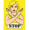 art poster girl shows stop arms Eps 10 vector image vector image