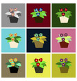 assembly flat icons violet in the pot vector image vector image