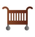 baby crib flat icon baby cradle bed color icons vector image vector image