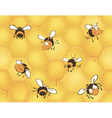 Bees and bees honeycomb Seamless pattern vector image