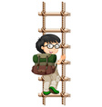 Boy with glasses climbing up ladder vector image vector image