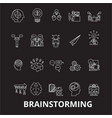 brainstorm editable line icons set on black vector image vector image