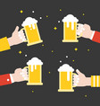 business hand holding beer jug celebration flat vector image vector image