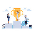 business success people standing on winner vector image