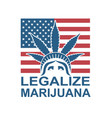 cannabis leaf on statue liberty vector image