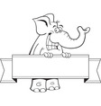 Cartoon elephant holding a banner sign vector image