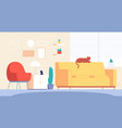 cat in room living home decor stylish furniture vector image vector image