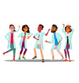 celebrating doctor s day dancing group of happy vector image vector image