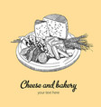 cheese and bakery poster vector image